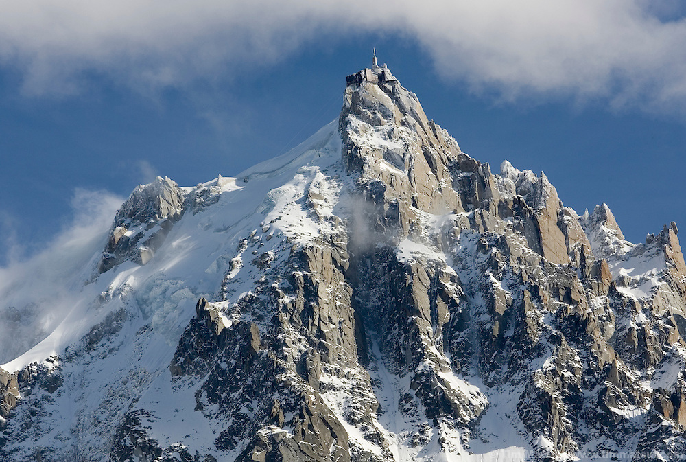 A snow covered Aguille du Midi, Chamonix, France