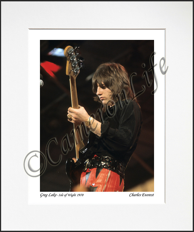 Greg Lake - An affordable archival quality matted print ready for framing at home.<br />  Ideal as a gift or for collectors to cherish, printed on Fuji Crystal Archive photographic paper set in a neutral mat (all mounting materials are acid free conservation grade). <br />  The image (approx 6&quot;x8&quot;) sits within a titled border. The outer dimensions of the mat are approx 10&quot;x12&quot;.