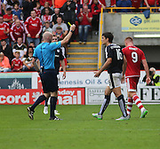 Referee Bobby Madden yellow cards Julen Etxabeguren - Aberdeen v Dundee at Pittodrie<br /> - Ladbrokes Premiership<br /> <br />  - &copy; David Young - www.davidyoungphoto.co.uk - email: davidyoungphoto@gmail.com