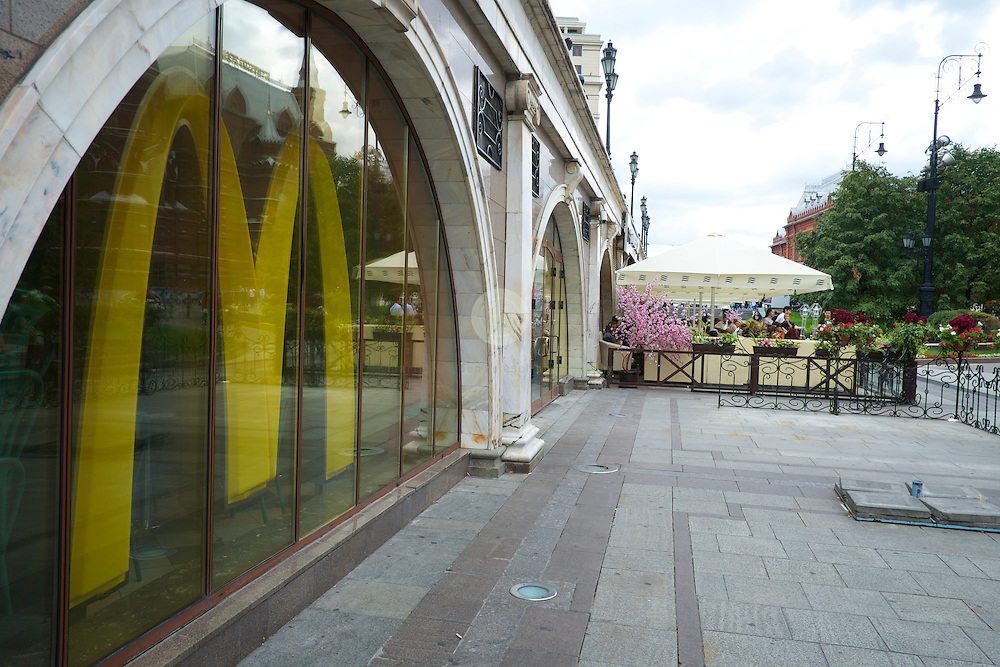 Several McDonald's restaurant have been temporally shut down by Russian food inspectors, citing sanitary violations. Here a closed McDonald's at Manege Square, adjacent to the Kremlin and Red Square.