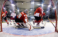 HETÉNYI Zoltan of Hungary and HORVÁTH Andras at IIHF Ice-hockey World Championships Division I Group B match between National teams of Hungary and Poland, on April 18, 2010, in Tivoli hall, Ljubljana, Slovenia. Hungary defeated Poland 6-0. (Photo by Vid Ponikvar / Sportida)