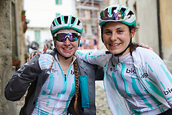 Nikola Noskova (CZE) and Elise Chabbey (SUI) pose for a photo after Stage 3 of 2019 Giro Rosa Iccrea, a 104.7 km road race from Sagliano Micca to Piedicavallo, Italy on July 7, 2019. Photo by Sean Robinson/velofocus.com