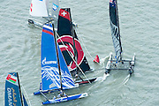 Emirates Team New Zealand, Day four of the Extreme Sailing Series regatta being sailed in Singapore. 23/2/2014
