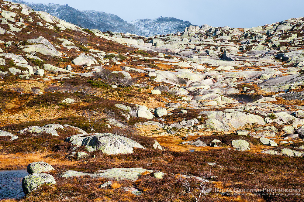 The first snowfall of the season in the mountains around Fidjeland, Sirdal, Norway.