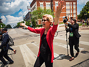 09 JUNE 2019 - CEDAR RAPIDS, IOWA: US Senator ELIZABETH WARREN (D-MA) walks into the Iowa Democrats 2019 Hall of Fame Celebration in the Cedar Rapids Convention Center. Nineteen of the Democratic candidates for president in 2020 spoke at the annual event. Iowa traditionally hosts the the first election event of the presidential election cycle. The Iowa Caucuses will be on Feb. 3, 2020.      PHOTO BY JACK KURTZ