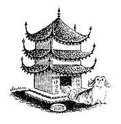(A Pekinese dog lives in a kennel shaped like a pagoda)