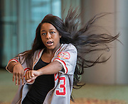 A member of the Bellaire High School eMotion Dance Team performs during the State of the Schools luncheon at the Hilton of the Americas, February 15, 2017.