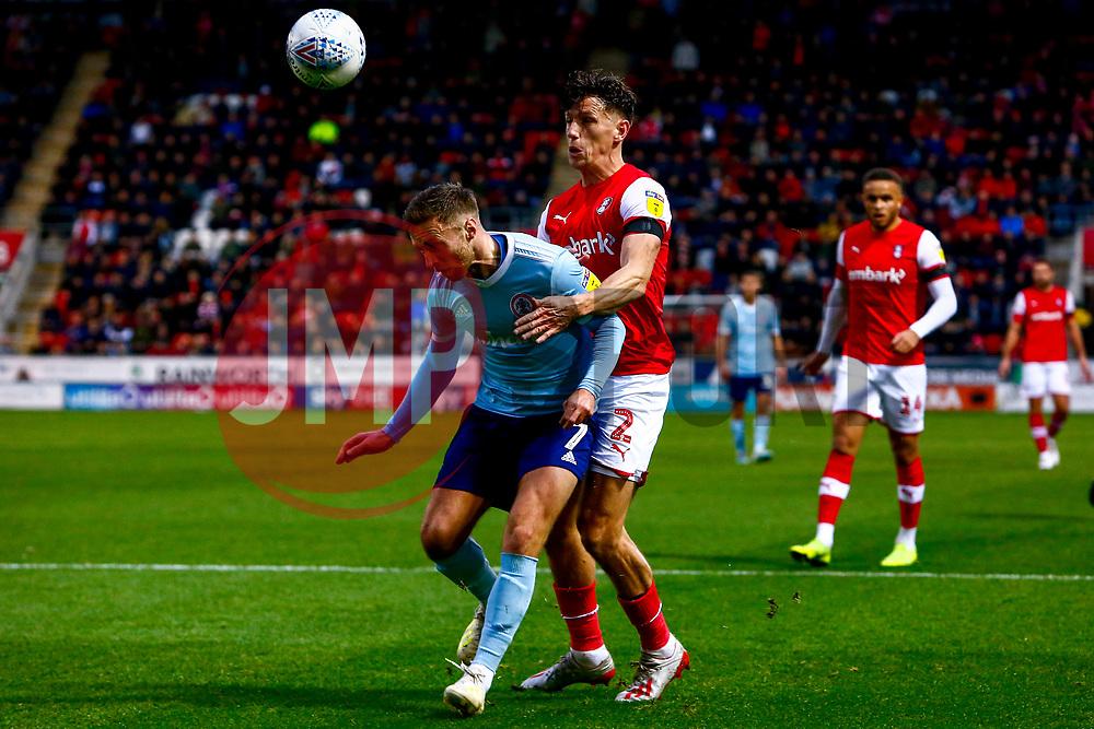 Jordan Clark of Accrington Stanley holds off Billy Jones of Rotherham United - Mandatory by-line: Ryan Crockett/JMP - 16/11/2019 - FOOTBALL - Aesseal New York Stadium - Rotherham, England - Rotherham United v Accrington Stanley - Sky Bet League One
