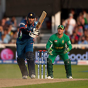 Wicket keeper Mark Boucher watches as Yuvraj Singh is almost caught and bowled during the ICC World Twenty20 Cup match between South Africa and India at Trent Bridge. Photo © Graham Morris (Tel: +44(0)20 8969 4192 Email: sales@cricketpix.com)