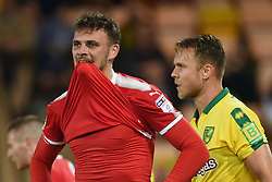 Swindon Town's Harry Smith rues a missed chance during the Carabao Cup, first round match at Carrow Road, Norwich.