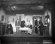 "28/04/1957<br /> 04/28/1957<br /> 28 April 1957<br /> Gael Linn- ""Muiris O hAirt"" drama at Damer Hall. Image shows a scene from rehearsals."