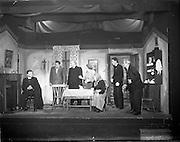 "28/04/1957<br /> 04/28/1957<br /> 28 April 1957<br /> Gael Linn- ""Muiris O hAirt"" drama at Damer Hall. Image shows a scene from rehearsals."