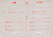 Irish Rugby Football Union, Ireland v France, Five Nations, Landsdowne Road, Dublin, Ireland, Saturday 27th January, 1951,.27.1.1951, 27.1.1951,..Referee- Mr T Pearce, Rugby Union, ..Score- Ireland 9 - 8 France,..Irish Team, ..G Norton, Wearing number 15 Irish jersey, Full back, Bective Rangers Rugby Football Club, Dublin, Ireland,  ..C S Griffin, Wearing number 14 Irish jersey, Right Wing, London Irish Rugby Football Club, Surrey, England, ..N J Henderson, Wearing number 13 Irish jersey, Right centre, Queens University Rugby Football Club, Belfast, Northern Ireland,..R R Chambers, Wearing number 12 Irish jersey, Left Centre, Instonians Rugby Football Club, Belfast, Northern Ireland, ..M F Lane,  Wearing number 11 Irish jersey, Left wing, University college Cork Football Club, Cork, Ireland,  .. J W Kyle, Wearing number 10 Irish jersey, Stand Off, Queens University Rugby Football Club, Belfast, Northern Ireland,..J A O'Meara, Wearing number 9 Irish jersey, Scrum, University college Cork Football Club, Cork, Ireland,  ..T Clifford, Wearing number 1 Irish Jersey, Forward, Young Munster Rugby Football Club, Limerick, Ireland, ..K Mullen, Wearing number 2 Irish Jersey, Captain of the Irish team, Forward, Old Belvedere Rugby Football Club, Dublin, Ireland, ..J H Smith, Wearing number 3 Irish jersey, Forward, Queens University Rugby Football Club, Belfast, Northern Ireland,..J E Nelson, Wearing number 4 Irish jersey, Forward, Malone Rugby Football Club, Belfast, Northern Ireland, ..D McKibbin, Wearing number 5 Irish jersey, Forward, Instonians Rugby Football Club, Belfast, Northern Ireland, ..J W McKay, Wearing number 6 Irish jersey, Forward, Queens University Rugby Football Club, Belfast, Northern Ireland,..D J O'Brien, Wearing number 7 Irish jersey, Forward, London Irish Rugby Football Club, Surrey, England, and, Old Belvedere Rugby Football Club, Dublin, Ireland, ..J S McCarthy, Wearing number 8 Irish jersey, Forward, Dolphin Rugby Football Club, Cork, Ireland, ..Frenc
