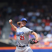 Pitcher Zack Greinke, Los Angeles Dodgers, pitching during the New York Mets Vs Los Angeles Dodgers MLB regular season baseball game at Citi Field, Queens, New York. USA. 26th July 2015. Photo Tim Clayton