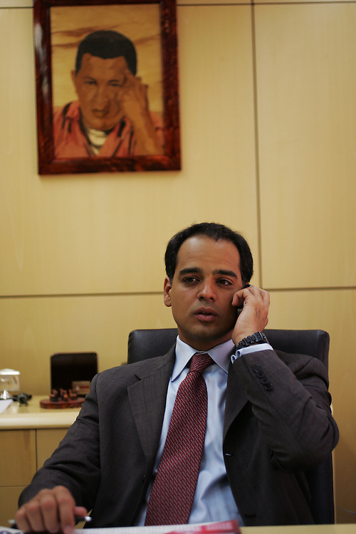 Andres Izarra gives an interview in his office when he was the Minister of Communications and Information. Private media in Venezuela say they face various challenges with the introduction of a new media law.  Supporters of the law, which limits the showing of sex and violence during daylight hours, says it is designed to protect children who may be watching TV.  Opponents claim it is an attempt by President Hugo Chavez to limit what opposition news media can broadcast, and cover, that may negatively reflect the government.  Television stations like Globovision, a 24 hour news channel,  must constantly monitor the material they show from their own broadcasts  as well as what they air from other networks like CNN in order to ensure they comply with the law.  In recent months Globovision has had to censor daytime footage from Iraq, a Jennifer Lopez video and street clashes in Caracas.