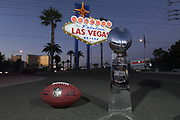 General overall view of the Vince Lombardi trophy and NFL Wilson official Duke football  in front of the Welcome to the Fabulous Las Vegas sign on Las Vegas Blvd. on the Las Vegas strip in Las Vegas, Tuesday, Sept. 25, 2018.