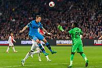 AMSTERDAM - 05-04-2017, Ajax - AZ, Stadion Arena, AZ speler Wout Weghorst scoort hier de 1-1, doelpunt, Ajax keeper Andre Onana