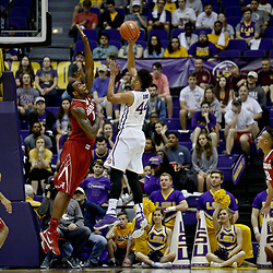 Jan 14, 2017; Baton Rouge, LA, USA; Alabama Crimson Tide forward Jimmie Taylor (10) goes up to block a shot LSU Tigers forward Wayde Sims (44) during the first half of a game at the Pete Maravich Assembly Center. Mandatory Credit: Derick E. Hingle-USA TODAY Sports