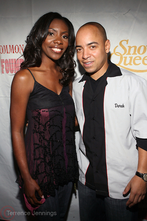 l to r: Jael Gadsden and Derek Dudley at Common's Start the Show n' Bowl benefiting The Common Ground Foundation held at Hotel Sax on September 26, 2008 in Chicago, IL