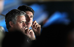 Real Madrid's coach Jose Mourinho and assistant coach Aitor Karanka during Raul's farewell act. July 26, 2010.