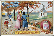 Aerial Telegraph (Semaphore). Artist's impression of Claude Chappe's (1763-1895), French engineer and inventor, telegraph system in use. Widely used, particularly in France and her colonies, until about 1850.  Liebig trade card issued c1900. Chromolithograph