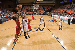 Virginia guard Sean Singletary (44) and Maryland guard Adrian Bowie (22) battle for a rebound.  The Virginia Cavaliers defeated the Maryland Terrapins 91-76 at the University of Virginia's John Paul Jones Arena  in Charlottesville, VA on March 9, 2008.