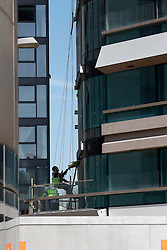 UK ENGLAND LONDON 20APR15 - Workers on the Canaletto tower in the Islington Basin. <br /> <br /> <br /> <br /> jre/Photo by Jiri Rezac<br /> <br /> <br /> <br /> © Jiri Rezac 2015