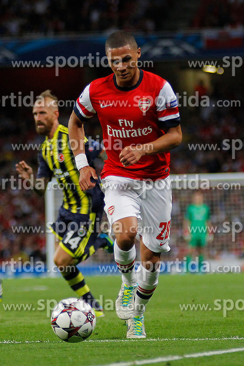 27.08.2013, Emirates Stadion, London, ENG, UEFA CL Qualifikation, FC Arsenal vs Fenerbahce Istanbul, Rueckspiel, im Bild Arsenal's Kieran Gibbs runs with the ball during the UEFA Champions League Qualifier second leg match between FC Arsenal and Fenerbahce Istanbul at the Emirates Stadium, United Kingdom on 2013/08/27. EXPA Pictures &copy; 2013, PhotoCredit: EXPA/ Mitchell Gunn<br /> <br /> ***** ATTENTION - OUT OF GBR *****