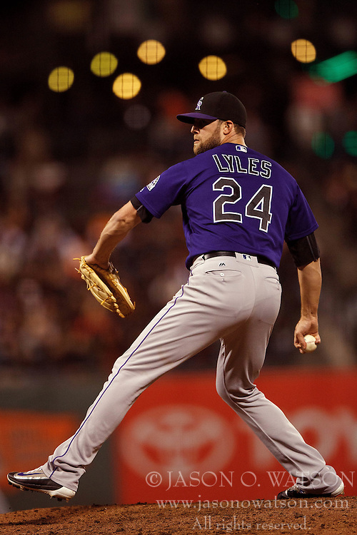 SAN FRANCISCO, CA - SEPTEMBER 29:  Jordan Lyles #24 of the Colorado Rockies pitches against the San Francisco Giants during the eighth inning at AT&T Park on September 29, 2016 in San Francisco, California. The San Francisco Giants defeated the Colorado Rockies 7-2. (Photo by Jason O. Watson/Getty Images) *** Local Caption *** Jordan Lyles