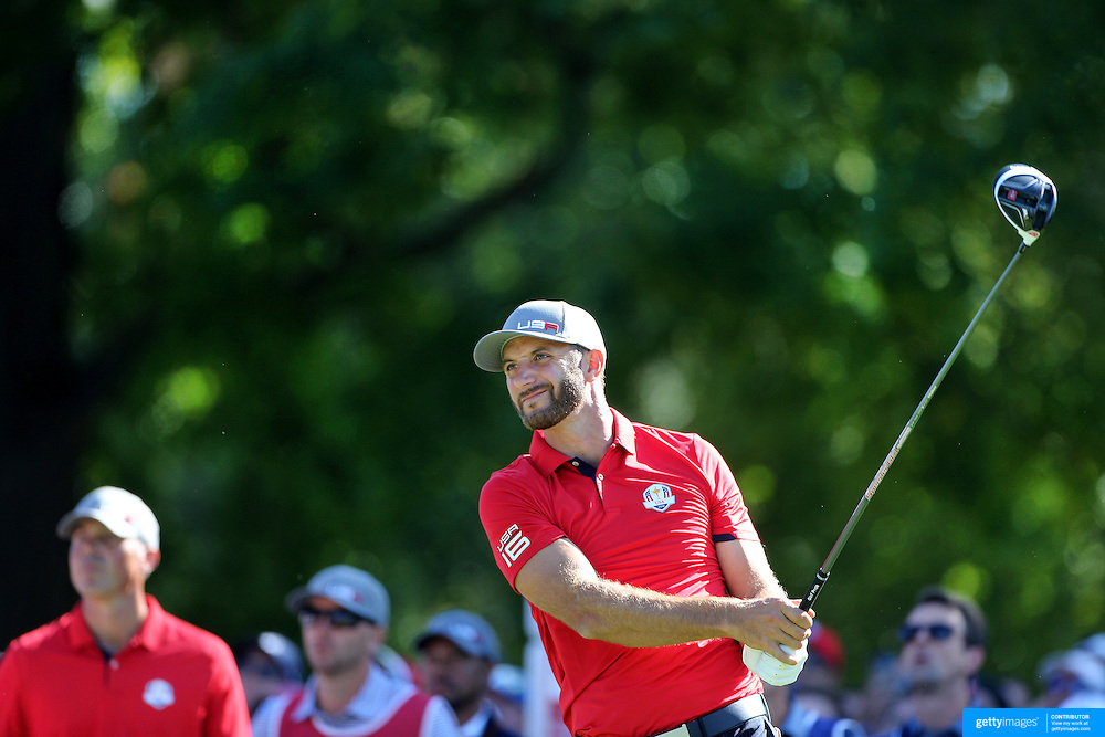 Ryder Cup 2016. Day One. Dustin Johnson of the United States tees off on the sixth in the Friday afternoon four-ball competition during the Ryder Cup at  Hazeltine National Golf Club on September 30, 2016 in Chaska, Minnesota.  (Photo by Tim Clayton/Corbis via Getty Images)