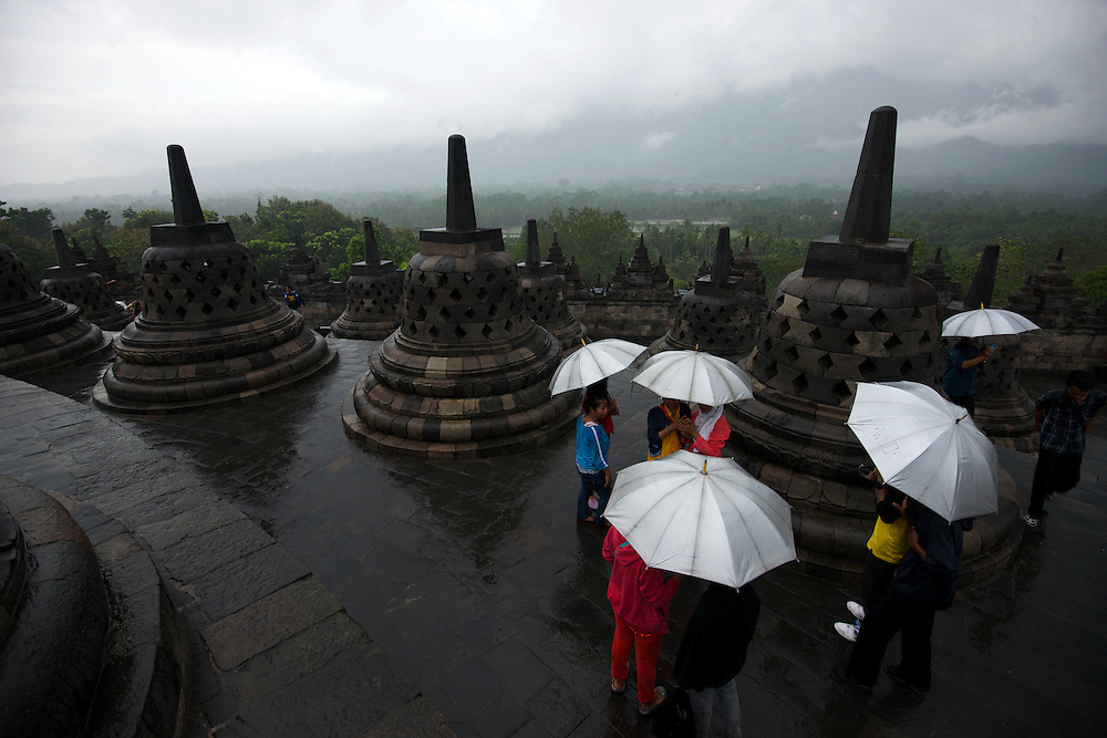 Borobudur, 9th-century Mahayana Buddhist Temple. Waisak Day (Buddha's birthday) draws pilgrim monks from all over Asia.