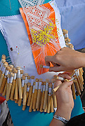Balearic Culture day in Santa Eulalia, Ibiza, Spain - Photo by Nano Calvo, Balearic Culture day in Santa Eulalia, Ibiza, Spain. October 2006 - Photo by Nano Calvo, Encaje de bolillos, a traditional way of sewing. Balearic Culture day in Santa Eulalia, Ibiza, Spain. October 2006 - Photo by Nano Calvo
