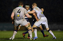 Bristol replacement (#19) Ben Glynn runs into contact with Leeds Carnegie Lock (#4) Calum Green during the second half of the match - Photo mandatory by-line: Rogan Thomson/JMP - Tel: Mobile: 07966 386802 25/01/2013 - SPORT - RUGBY - Memorial Stadium - Bristol. Bristol v Leeds Carnegie - RFU Championship.