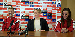 CARDIFF, WALES - Thursday, February 19, 2015: Wales women's team manager Jayne Ludlow with captain Sophie Ingle [L] and vice-caption Natasha Harding [R] during a press conference ahead of the 2015 Istria Cup at the FAW HQ in Cardiff. (Pic by Carl Robertson/Propaganda)