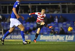 Doncaster Rovers' Mark Duffy shoots at goal. - Photo mandatory by-line: Alex James/JMP - Tel: Mobile: 07966 386802 03/12/2013 - SPORT - Football - Birmingham - St Andrews - Birmingham City v Doncaster Rovers - Sky Bet Championship