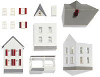Model house parts on white background