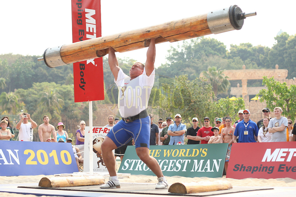 Mikhail Koklyaev (Russia) shows good form and strength in the overhead log-lift during the final rounds of the World's Strongest Man competition held in Sun City, South Africa.