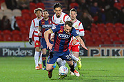 Bradford City defender Tony McMahon is brought down during the EFL Sky Bet League 1 match between Doncaster Rovers and Bradford City at the Keepmoat Stadium, Doncaster, England on 19 March 2018. Picture by Aaron  Lupton.