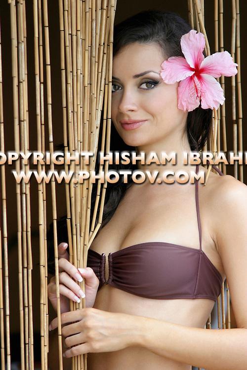 Sexy young Russian woman in brown bikini, Miami, Florida