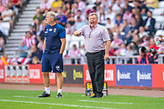 AFC Wimbledon manager Wally Downes during the EFL Sky Bet League 1 match between Sunderland and AFC Wimbledon at the Stadium Of Light, Sunderland, England on 24 August 2019.