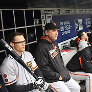 NEW YORK, NEW YORK - MAY 01: Manager Bruce Bochy #15 of the San Francisco Giants in the dugout with Kelby Tomlinson #37, (left), of the San Francisco Giants during the New York Mets Vs San Francisco Giants MLB regular season game at Citi Field on May 01, 2016 in New York City. (Photo by Tim Clayton/Corbis via Getty Images)