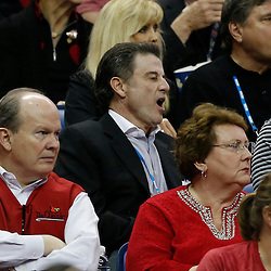 Apr 9, 2013; New Orleans, LA, USA; Louisville Cardinals men's basketball head coach Rick Pitino reacts during the first half of the championship game in the 2013 NCAA womens Final Four against the Connecticut Huskies at the New Orleans Arena. Mandatory Credit: Derick E. Hingle-USA TODAY Sports