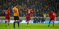 WOLVERHAMPTON, ENGLAND - Thursday, January 23, 2020: Liverpool's Roberto Firmino celebrates scoring the second goal during the FA Premier League match between Wolverhampton Wanderers FC and Liverpool FC at Molineux Stadium. (Pic by David Rawcliffe/Propaganda)