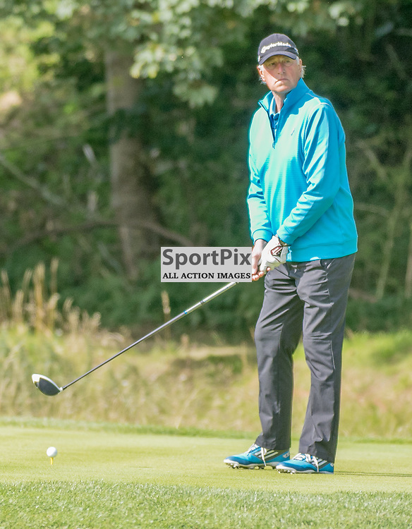 Ex-England goalkeeper Ray Clemence tees off at the first hole. Prostate Cancer UK Scottish Senior Open, 28th August 2015