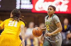 Jan 30, 2016; Morgantown, WV, USA; Baylor Bears guard Niya Johnson (2) dribbles up the floor during the second quarter against the West Virginia Mountaineers at WVU Coliseum. Mandatory Credit: Ben Queen-USA TODAY Sports