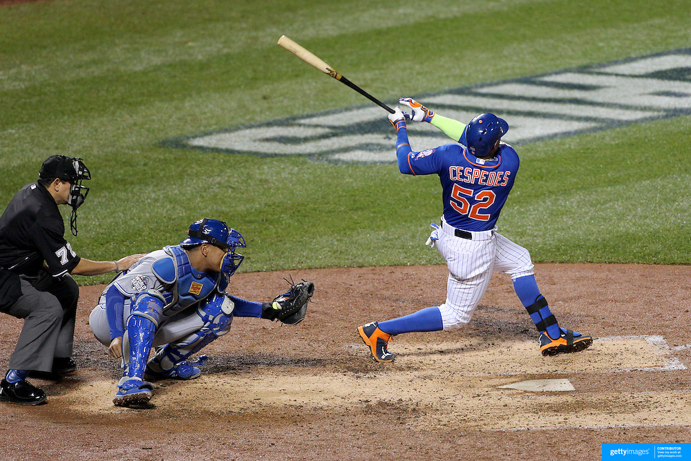 Yoenis Cespedes, New York Mets, is hit by a pitch during the New York Mets Vs Kansas City Royals, Game 5 of the MLB World Series at Citi Field, Queens, New York. USA. 1st November 2015. Photo Tim Clayton