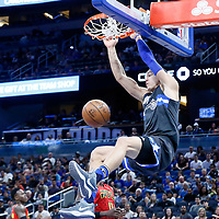 25 February 2017: Orlando Magic forward Aaron Gordon (00) dunks the ball during the Orlando Magic 105-86 victory over the Atlanta Hawks, at the Amway Center, Orlando, Florida, USA.