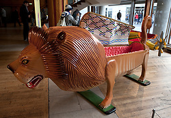 © Licensed to London News Pictures. 22/01/2012. London, U.K..The LION coffin, by Paa Joe..Boxed Exhibition at the Royal Festival Hall on the South Bank, London, showing fabulous weird and whacky coffins from the UK and Ghana..Photo credit : Rich Bowen/LNP