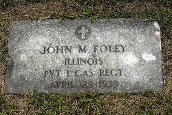 31 August 2017:   Veterans graves in Park Hill Cemetery in eastern McLean County.<br /> <br /> John M Foley Illinois Private 1 GAS REGT April 25 1939
