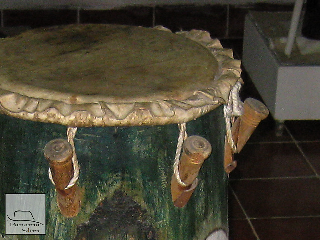 "The Olokun drums were used to worship Olokun, the Lucumi Orisha of the deepest oceans. The set has four drums, the largest is called ""Olokun"", the next two are called ""Yegua"", and the smallest is called ""Odua"". The most famous set were found in the house of Fermina Gomez of Matanzas."